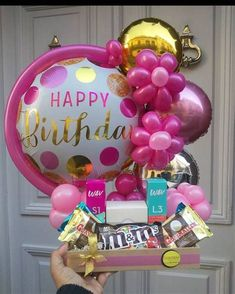 Birthday Balloon Decorations, Birthday Balloons, Candy Bouquet, Balloon Bouquet, Balloons Galore, Balloon Gift, Paper Flowers Craft, Candy Gifts, Birthday Diy