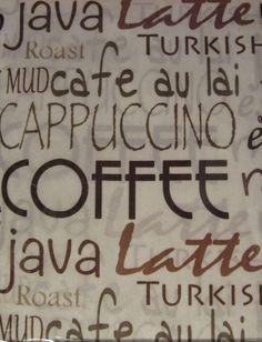 Hudson Valley Java Coffee Mocha Typography 36L Tier Valance Set Kitchen  Curtains