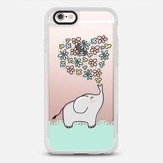 Elephant - Flowers Heart - Floral Love - Mint Green Lace Border - New Standard Case