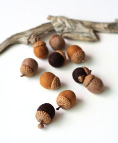 Felted Acorns  set of 10 in autumn browns by delica on Etsy, $18.00