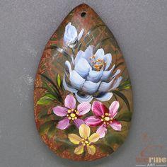 Hot Fashion Pendant Hand Painted Flower Natural Gemstone   ZL805117 #ZL #Pendant