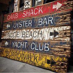 Items similar to Beach Sign Set Crab Shack, Oyster Bar, Yacht Club, Nude, Boardwalk Wood Beach Decor Nautical Beach Sign Set Maine on Etsy Beach Wood Signs, Beach House Signs, Crab Shack, Surf Shack, Rustic Cabin Decor, Rustic Wood, Pool House Decor, Backyard Bar, Oyster Bar