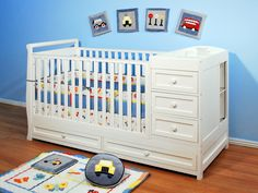 Amazon.com : Athena Daphne Convertible Crib and Changer, White : Baby