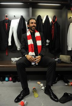 https://flic.kr/p/nAziK9   490567251DP052_Arsenal_v_Hu   LONDON, ENGLAND - MAY 17: Robert Pires the ex Arsenal player in the changingroom after the match between Arsenal and Hull City in the FA Cup Final at Wembley Stadium on May 17, 2014 in London, England.  (Photo by David Price/Arsenal FC via Getty Images) *** Local Caption *** Robert Pires