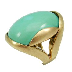 American1970 yellow gold natural turquoise ring, set with an oval turquoise -  Via Park Place on 1stdibs