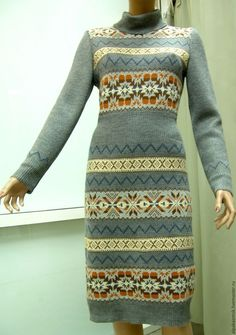 Купить скандинавское платье - орнамент, норвежский узор, скандинавский стиль, трикотажное платье, вязаное платье