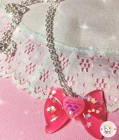 Collar Ribbon Fucsia con Corazón Rosa por mariakawaiistore en Etsy