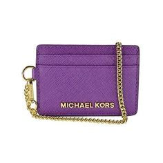 MICHAEL Michael Kors Jet Set Travel Chain Card Case ($50) ❤ liked on Polyvore featuring bags, wallets, violet, card holder wallet, chain bag, michael kors, purple bag and card case wallet