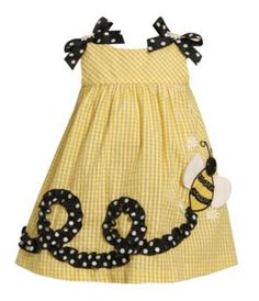 Bonnie Jean Toddler Bumble Bee-Appliqued Seersucker Dress