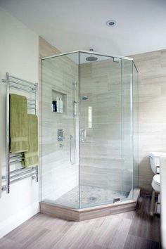 Corner entry shower example. Small bathroom. Corner Shower Tile, Corner Showers, Downstairs Bathroom, Serene Bathroom, Glass Bathroom, Bathroom Layout, Frameless Shower, Small Bathrooms, Tiny House Bathroom