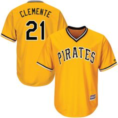 Roberto Clemente Pittsburgh Pirates Majestic Alternate Cool Base Player Jersey - Gold