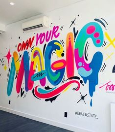 ✨💜💖💙 Mural at in Brooklyn! This is the second wall I've painted on white this week LOL. People (clients) often ask if my art can live on white and I usually say no because it is just so much punchier and brighter Graffiti Wall Art, Murals Street Art, Graffiti Lettering, Mural Wall Art, Street Art Graffiti, Typography, School Murals, Teaching Art, Wall Design
