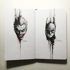 """The Joker x Batman #DrippingPortraits"" | by Kerbyrosanes"