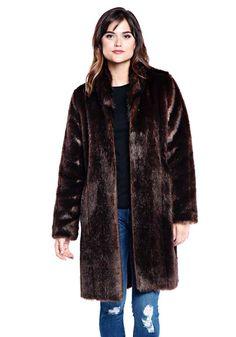 Sable Signature Knee Length Faux Fur Coat