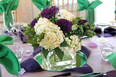 Purple, green, and white hydrangeas