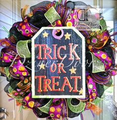 Sparkly Trick or Treat Halloween deco mesh Wreath by DzinerDoorz, $95.00