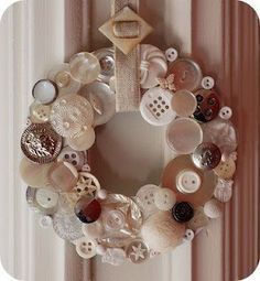 button wreath. I did this with buttons and shells, years ago, but it's dead now.