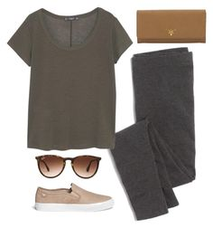 """rainy day"" by kcunningham1 ❤ liked on Polyvore featuring Madewell, MANGO, Tory Burch, Prada and Ray-Ban"