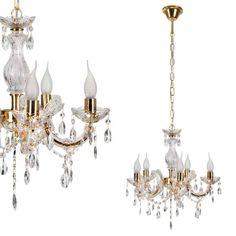 Żyrandol LAMPA wisząca maria teresa 35-94646 Candellux metalowa OPRAWA świecznikowa pałacowa kryształki złota