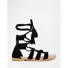 ASOS FEEL THE POWER Suede Lace Up Flat Sandals ($36) ❤ liked on Polyvore featuring shoes, sandals, flat shoes, asos shoes, lace up shoes, flat strap sandals and suede flat sandals