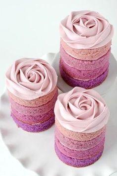 Purple Ombre Rose Mini Cakes