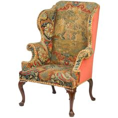 Exceptional Multi Fabric Wing Chair With Nailhead And Tape.