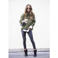 Winter Fashion Zara Sweater Army Green White Shirt Blouse Jeans Ankle Boots Shades Sunglasses Style Sexy Tend Women