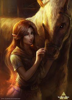 The Legend of Zelda: Ocarina of Time, Adult Malon and Adult Epona / -Bring him back safely- by R-SRaven on deviantART