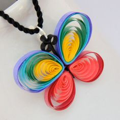 Rainbow Butterfly Unique Handmade Paper Quilled Pendant, Eco Friendly Jewelry, Artisan Jewelry