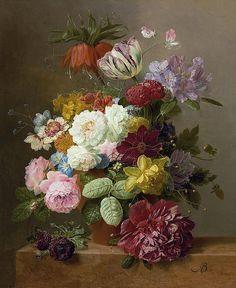 Пышный букет с пионом, розами, тюльпаном