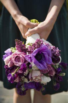 Wedding, Flowers, Bouquet, Purple, Bridemaids