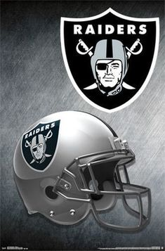 A great poster for fans of the Oakland Raiders - the NFL Football team helmet! Need Poster Mounts. Oakland Raiders Logo, Oakland Raiders Images, Nfl Oakland Raiders, Pittsburgh Steelers, Dallas Cowboys, Nfl Football Helmets, Football Team Logos, Football Posters, Football Design