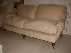 Pair Sofa Workshop Miss Clementine Cream Twill Sofas x 2 Feather & Foam…