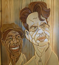 Shawshank Doug Wallace of Fort Worth, Texas, began transforming images of celebrities into 3-D intarsia portraits in 2004. His work is on display in the James Stewart Museum and the Comedy Shrine, as well as the homes of various celebrities he immortalized in wood. http://f13o71x-delta-9er5er.com/creating-caricatures-in-wood/