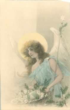 Full Sized Image: angels holds basket of gifts, carries star topped wand - TuckDB