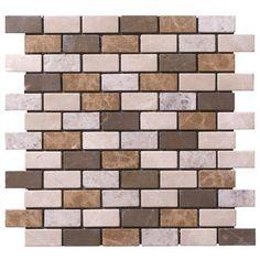 StoneSkin Peel-n-Stick 1'' x 2'' Brick-Joint Random Mix Mosaic (use as bathroom back splash behind sink)