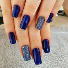 Nail - The best 10 nail art tips - - night blue silverly nail art nails nail ideas trendy nails blue nails. Stylish Nails, Trendy Nails, Hair And Nails, My Nails, Winter Nails Colors 2019, Blue And Silver Nails, Navy Blue Nails, Nail Art Blue, Royal Blue Nails