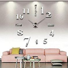 Asvert 3D Reloj de Pared Silencioso DIY de Material Acrílico con Números Adhesivos (Efecto de Espejo) y Agujas EVA para Decoración de Hogar, Plata: Amazon.es: Hogar