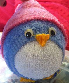 DIY Project - Sock Penguin, made by me Sock Dolls, Felt Dolls, Sock Crafts, Fun Crafts, Tennis Ball Crafts, Diy Projects To Try, Sewing Projects, Sock Bunny, Sock Snowman