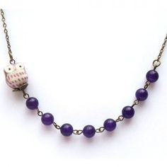 Antiqued Brass Purple Porcelain Owl Jade Necklace