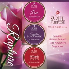 Get caught in the #RAPTURE! Love, Egyptian Black Musk, and Wine & Roses all natural pure essential oils based Simple Uncomplicated Take Anywhere Fragrance Set #under35 http://www.soulpurpose.net/esuite/home/imwalkinginwellness/add-to-cart?product_id=SP778