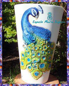 jarrones de barro decorados CON PAVORREAL - Buscar con Google