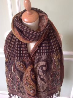 Beaded Wool Scarf by TaniaLlewellyn on Etsy