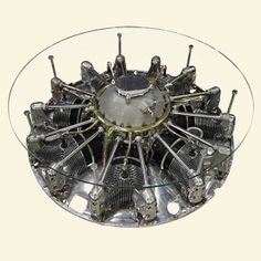 An 8 Cylinder Jacobs Aircraft Engine repurposed as a coffee table.