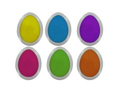Easter egg stamp pads, set of 6 (Case of 96) http://www.easterdepot.com/easter-egg-stamp-pads-set-of-6-case-of-96/ #easter  These Easter egg-shaped stamp pads feature bright spring colors like lavender, yellow, orange, blue, green, pink. Each measures 7″ x 6 1/2″.     Closeout Item:=Yes||Colors:=yellow,green,blue,purple,orange,pink||Materials:=foam    ***You may return a defective products up to 14 days after received it.    NO REFUNDS WILL BE AUTHORIZED AFTER 14 DAYS.    Partial ret..