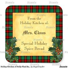Holday Kitchen of Holly Plaid Baking Sticker