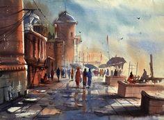 Ghat of Varanasi,India - Painting,  30x22 cm ©2013 by Kishore singh -            Ghat of Varanasi, India