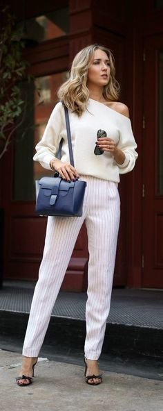 Click for outfit details! Cream off the shoulder sweater, white pinstripe tapered pant, bow sandals, navy mini Maestro work bag {Theory, Senreve, Alexandre Birman, work-to-play bag, work bag, wear to work style, office style}