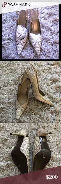 Stuart Weitzman Crocodile Skin Heels New. Has never been worn. Tan with gold tones around scales. Made in Spain. Leather soles. Size 39. Stuart Weitzman Shoes Heels