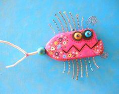 Pink Piranha, Original Found Object Wall Sculpture, Wood Carving, Wall Decor, Fish Sculpture, by Fig Jam Studio